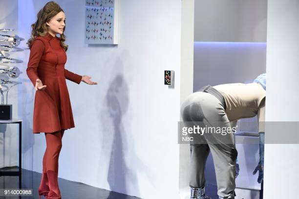 LIVE Episode 1738 'Natalie Portman' Pictured Natalie Portman as Captain Beck Bennett as Rexine during 'Alien Lover' sketch in Studio 8H on Saturday...