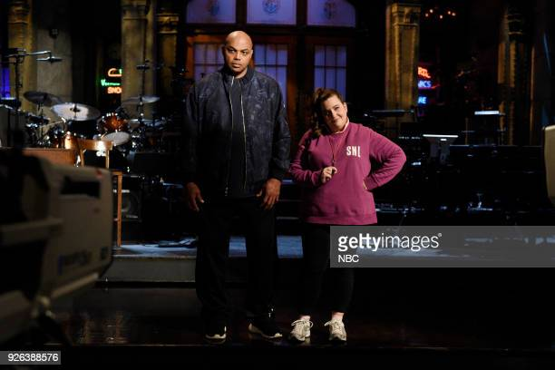 LIVE Episode 1739 Charles Barkley Pictured Host Charles Barkley with Aidy Bryant during a promo in 30 Rockefeller Plaza