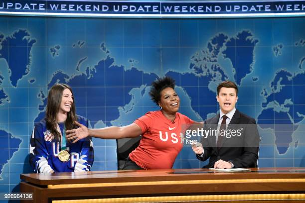 LIVE Episode 1739 Charles Barkley Pictured Ice Hockey Olympian Hilary Knight Leslie Jones Colin Jost during Weekend Update in Studio 8H on Saturday...