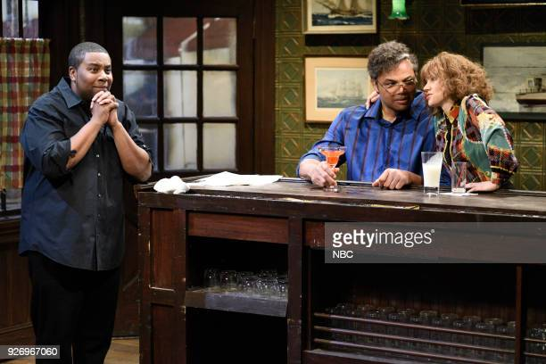 LIVE Episode 1739 'Charles Barkley' Pictured Kenan Thompson Charles Barkley Kate McKinnon during 'Last Call' in Studio 8H on Saturday March 3 2018