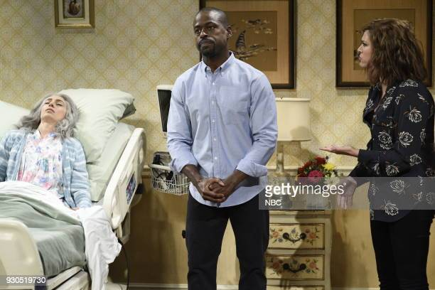 LIVE Episode 1740 Sterling K Brown Pictured Melissa Villaseñor as Mrs Gomez Sterling K Brown as Michael Cecily Strong as Monica during Dying Mrs...