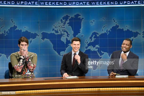 LIVE Episode 1741 Bill Hader Pictured Bill Hader as Stefon Colin Jost Michael Che during Weekend Update in Studio 8H on Saturday March 17 2018