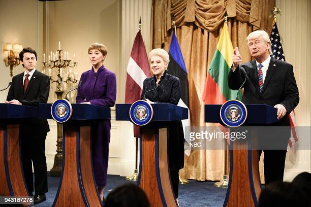 "Episode 1742 ""Chadwick Boseman"" -- Pictured: Alex Moffat as Raimonds Vejonis President of Latvia, Heidi Gardner as Kersti Kaljulaid President of..."
