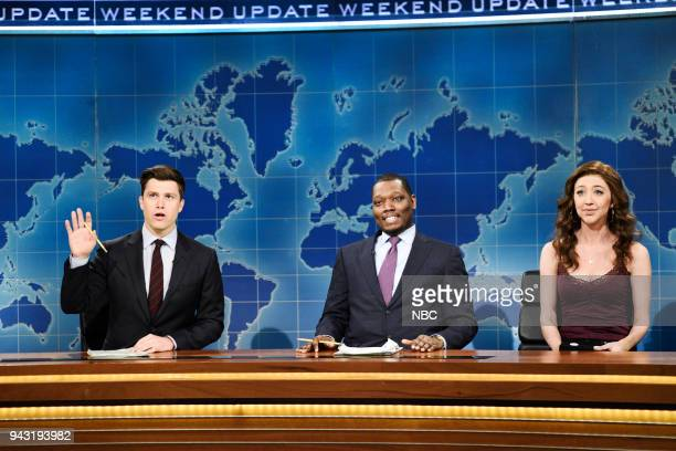 LIVE Episode 1742 Chadwick Boseman Pictured Colin Jost Michael Che Heidi Gardner as Angel during 'Weekend Update' in Studio 8H on Saturday April 7...