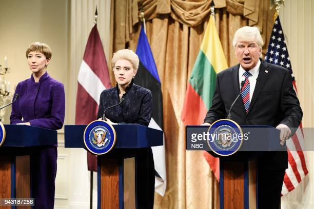 "Episode 1742 ""Chadwick Boseman"" -- Pictured: Heidi Gardner as Kersti Kaljulaid President of Estonia, Kate McKinnon as Dalia Grybauskait? President of..."