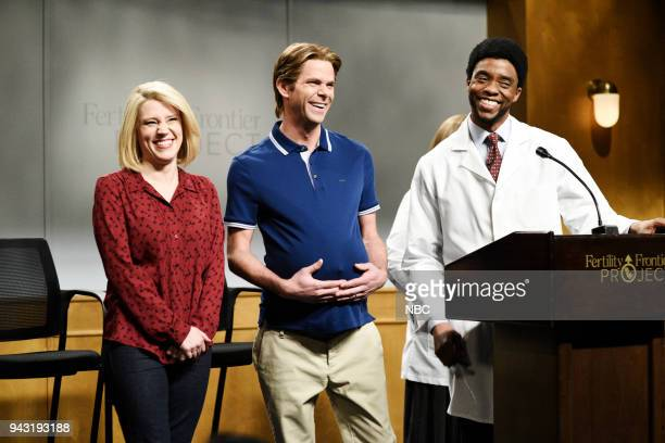 LIVE Episode 1742 'Chadwick Boseman' Pictured Kate McKinnon as Sandra Matson Mikey Day as Dan Matson Chadwick Boseman as Doctor Connelly during...