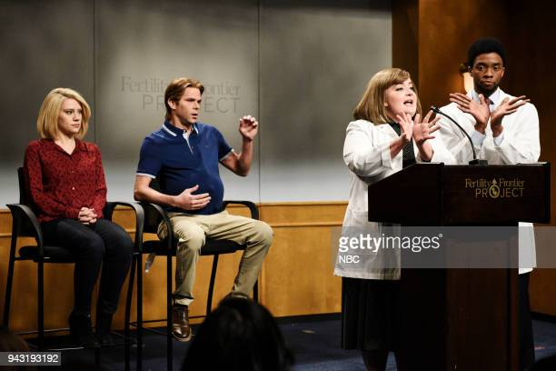 LIVE Episode 1742 'Chadwick Boseman' Pictured Kate McKinnon as Sandra Matson Mikey Day as Dan Matson Aidy Bryant as Dr Karen Price Chadwick Boseman...