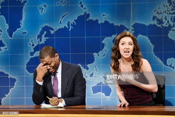 LIVE Episode 1742 Chadwick Boseman Pictured Michael Che Heidi Gardner as Angel during 'Weekend Update' in Studio 8H on Saturday April 7 2018