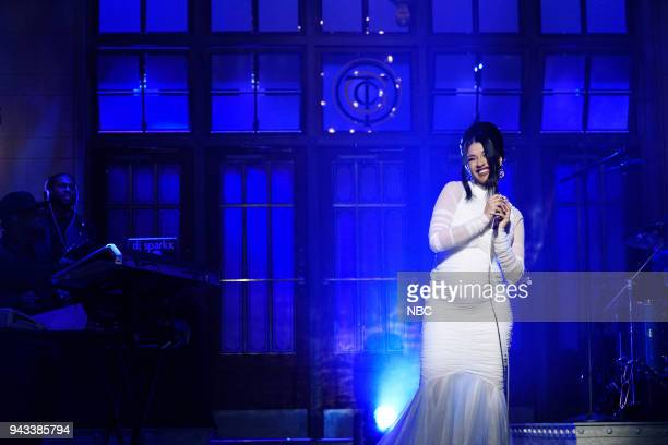 LIVE Episode 1742 'Chadwick Boseman' Pictured Musical Guest Cardi B Performs 'Be Careful' in Studio 8H on Saturday April 7 2018