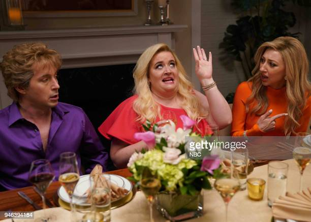 LIVE Episode 1743 John Mulaney Pictured Beck Bennett Aidy Bryant Heidi Gardner during Reality Intro on Saturday April 14 2018