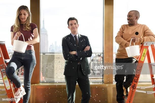 """Episode 1743 """"John Mulaney"""" -- Pictured: Heidi Gardner, Host John Mulaney, Chris Redd during a promo in Rockefeller Plaza --"""