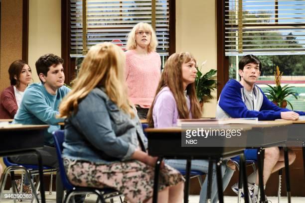 LIVE Episode 1743 'John Mulaney' Pictured Luke Null Kate McKinnon Melissa Villaseñor as Meghan John Mulaney as Gerald during 'National School...