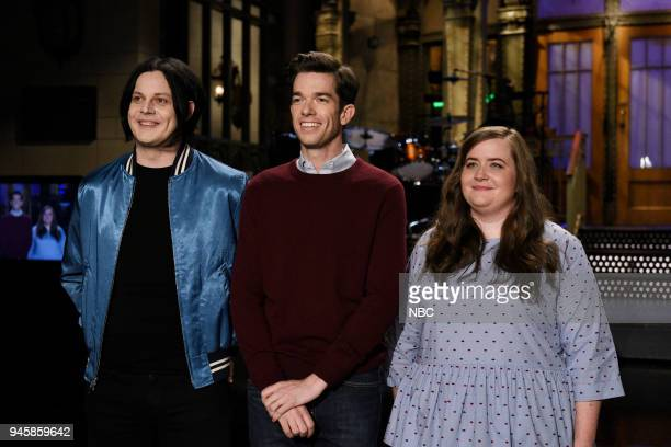 LIVE Episode 1743 'John Mulaney' Pictured Musical Guest Jack White Host John Mulaney Aidy Bryant during a promo in 30 Rockefeller Plaza