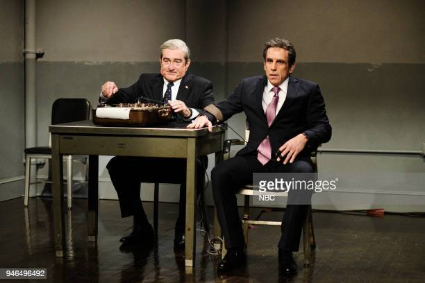 LIVE Episode 1743 John Mulaney Pictured Robert De Niro as Attorney Robert Muller Ben Stiller as Attorney Michael Cohen during The Cold Open in Studio...