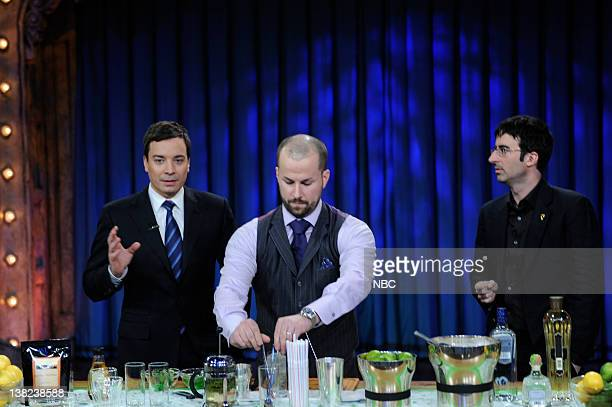 FALLON Episode 176 Airdate Pictured Host Jimmy Fallon mixologist Jim Meehan comedian John Oliver during a demonstration on January 7 2010