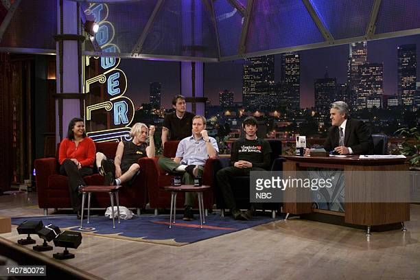 Angel Tolentino members of musical guest Foo Fighters during an interview with host Jay Leno on January 13 2000