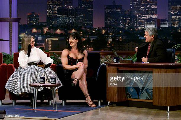 Actress Diane Keaton and professional wrestler Chyna during an interview with host Jay Leno on February 11 2000