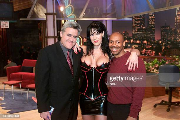 Host Jay Leno professional wrestler Chyna and Tonight Show band leader Kevin Eubanks on February 11 2000