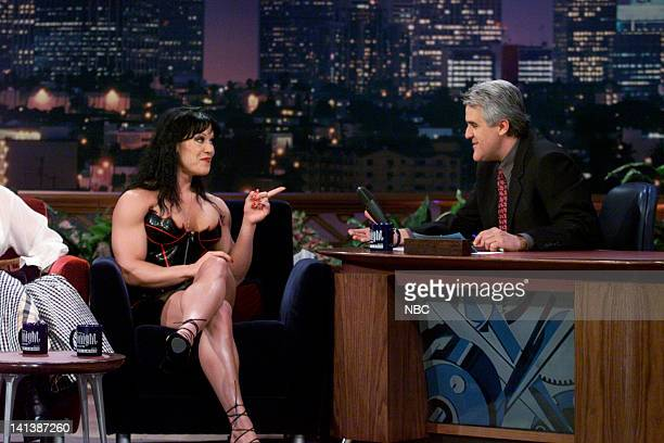 Professional wrestler Chyna during an interview with host Jay Leno on February 11 2000