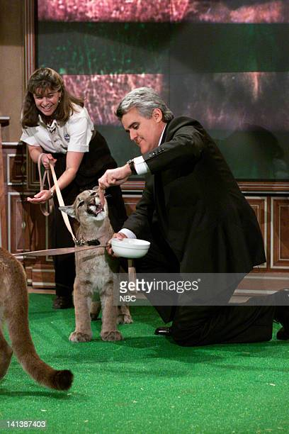 Animal handler Julie Scardina with host Jay Leno and a lion cub on February 17 2000