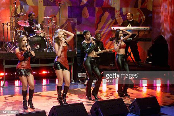 Musical guest Destiny's Child Farrah Franklin Beyonce Knowles Kelly Rowland Michelle Williams performs on March 3 2000
