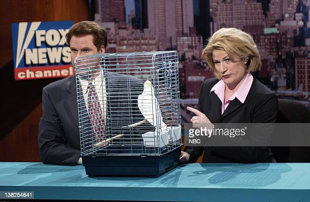 LIVE Episode 18 Air Date Pictured Will Ferrell as Shepard Smith Ana Gasteyer as Linda Vester during the Blake Murder Mystery skit on April 20 2002