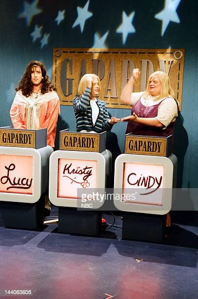 Adam Sandler as Lucy Brawn David Spade as Christy Henderson Chris Farley as Cindy Crawford during the 'Gapardy' skit on April 15 1995