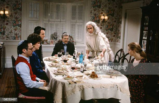 Adam Sandler as son Julia Sweeney as mother Kevin Nealon as Manny Mike Myers as Pop Jerry Seinfeld as Elijah Beth Cahill as Lisa during the Passover...