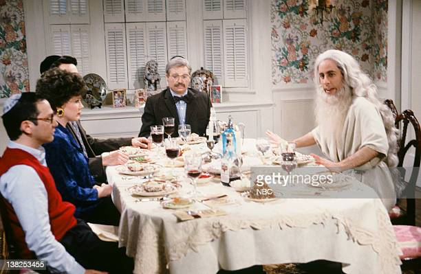 Adam Sandler as son Julia Sweeney as mother Mike Myers as Pop Jerry Seinfeld as Elijah during the Passover Seder skit on April 18 1992