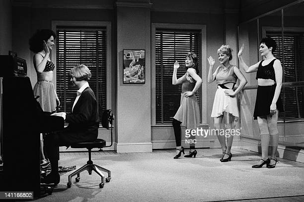Geena Davis as Ms Darnell Cheryl Hardwick as pianist Jan Hooks as student Victoria Jackson as student Nora Dunn during the 'Spokesmodels' skit on...