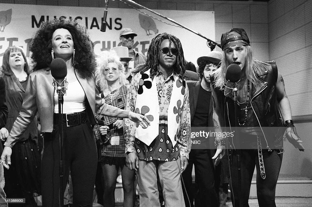 Jan Hooks as Diana Ross, Tim Meadows as Lenny Kravitz, Adam Sandler as Axl Rose during the 'Musicians For Free-Range Chickens' skit on April 20, 1991 -- Photo by: Alan Singer/NBC/NBCU Photo Bank