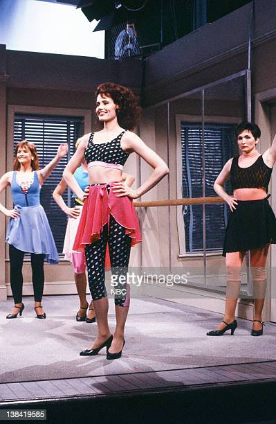 Jan Hooks as student Geena Davis as Ms Darnell Nora Dunn as student during the 'Spokesmodels' skit on April 22 1989