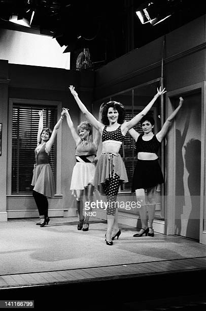 Jan Hooks as student Victoria Jackson as student Geena Davis as Ms Darnell Nora Dunn as student during the 'Spokesmodels' skit on April 22 1989 Photo...