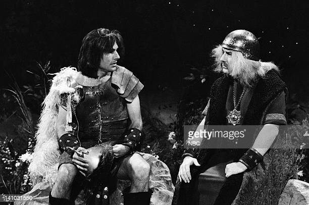 Mark Harmon as Attila the Hun Phil Hartman as Father during the 'Very Smart Theatre' skit on May 9 1987 Photo by Alan Singer/NBC/NBCU Photo Bank