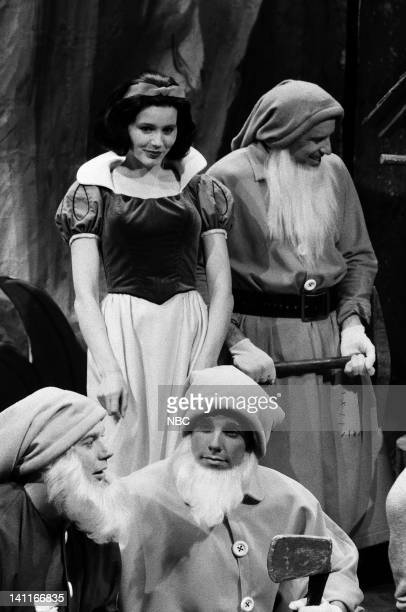 Mike Myers as Feely Geena Davis as Frost White Ben Stiller as Touchy Kevin Nealon as Sticky during the 'Frost White and the Seven L'll Men' skit on...