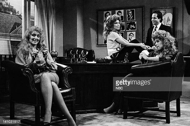 Nora Dunn as Donna Rice Jan Hooks as Jessica Hahn Jon Lovitz as John Bosely Victoria Jackson as Fawn Hall during 'The New Charlie's Angels' skit on...