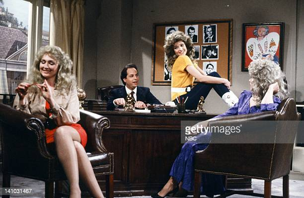 Nora Dunn as Donna Rice Jon Lovitz as John Bosley Jan Hooks as Jessica Hahn Victoria Jackson as Fawn Hall during 'The New Charlie's Angels' skit on...