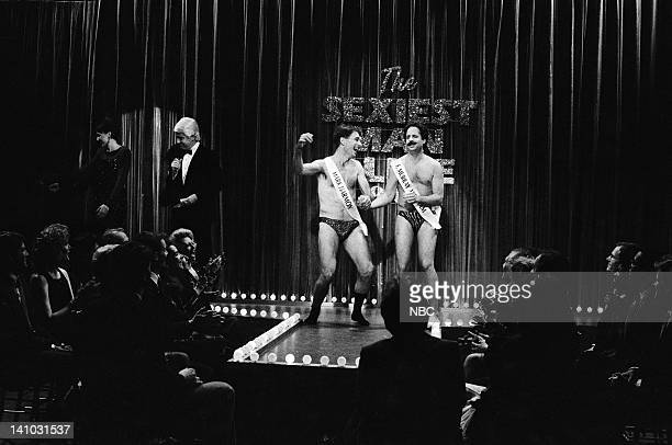 Nora Dunn as Pat Stevens Phil Hartman as Peter Graves Mark Harmon Jon Lovitz as F Murray Abraham during 'The Sexiest Man Alive 1986' skit on May 9...