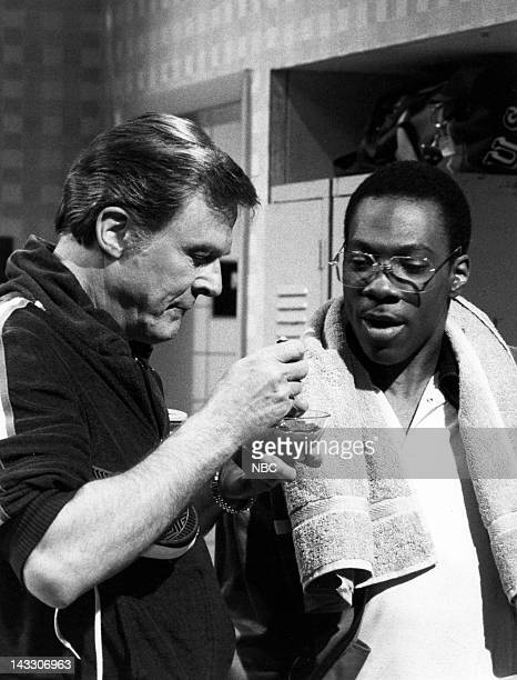 Robert Culp as Kelly Eddie Murphy as Bill Cosby during the 'Tennis Club Locker Room' skit on April 24 1982 Photo by