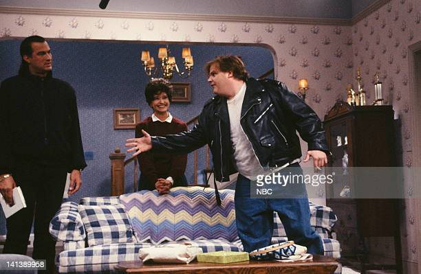 Steven Seagal as Mr Novack Jan Hooks Mrs Novack Chris Farley as Doug during the 'Jennifer's Date' skit on April 20 1991 Photo by Alan Singer/NBC/NBCU...