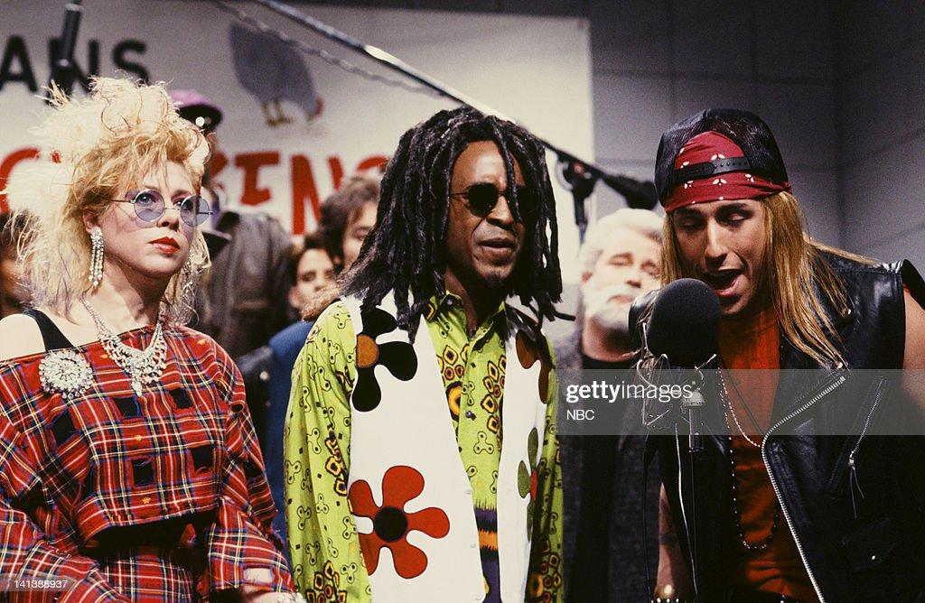 Victoria Jackson as Cyndi Lauper, Tim Meadows as Lenny Kravitz, Adam Sandler as Axl Rose during the 'Musicians For Free-Range Chickens' skit on April 20, 1991 -- Photo by: Alan Singer/NBC/NBCU Photo Bank