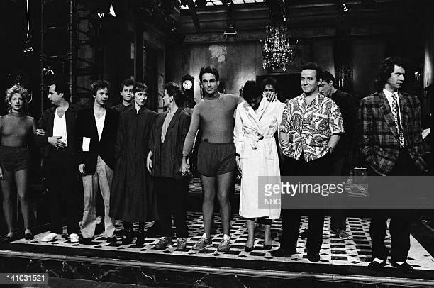 Episode 18 -- Pictured: Victoria Jackson, Jon Lovitz, Dana Carvey, Suzanne Vega, Jan Hooks, Mark Harmon, Nora Dunn, Phil Hartman, Kevin Nealon,...