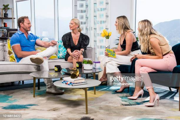 Actors Ian Ziering and Tara Reid on set with hosts Carissa Culiner and Morgan Stewart