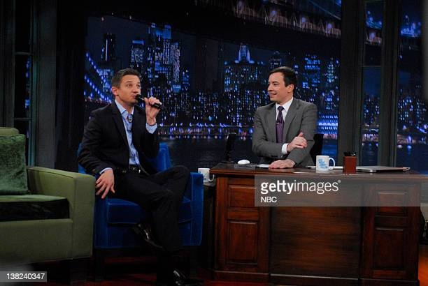 FALLON Episode 181 Airdate Pictured Actor Jeremy Renner during an interview with host Jimmy Fallon on January 14 2010