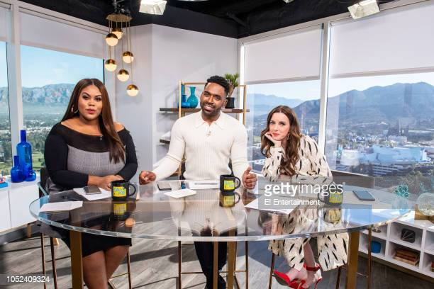 Daily Pop Host Nina Parker poses along with CoHosts Justin Sylvester and Melanie Bromley on set