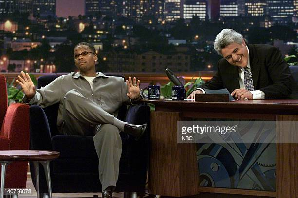 Comedian D L Hughley during an interview with host Jay Leno on April 11 2000