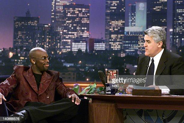 Musical guest Joe during an interview with host Jay Leno on April 17 2000