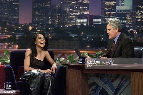 Musical guest Aaliyah during an interview with host Jay Leno on April 26 2000