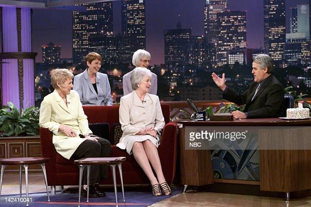 Calendar Girls Tricia Stewart Beyrl Bamforth Lynda Logan Chris Clancy and during an interview with host Jay Leno on April 28 2000