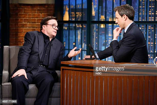 Actor Nathan Lane during an interview with host Seth Meyers on March 30 2015
